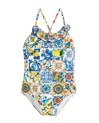 Maiolica-Print Cross-Back One-Piece Swimsuit, Size 8-12