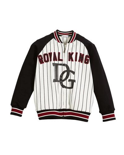 DG Royal King Striped Baseball Jacket, Size 2-6