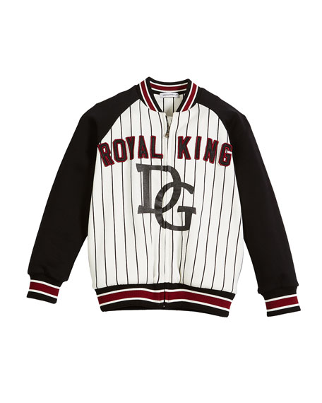 DG Royal King Striped Baseball Jacket, Size 2-6