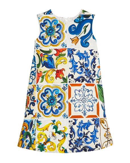 Dolce & Gabbana Maiolica-Print Sleeveless A-Line Dress, Size