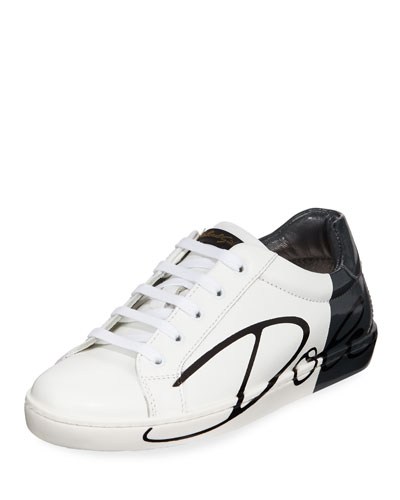 Two-Tone Leather Logo Sneakers, Toddler