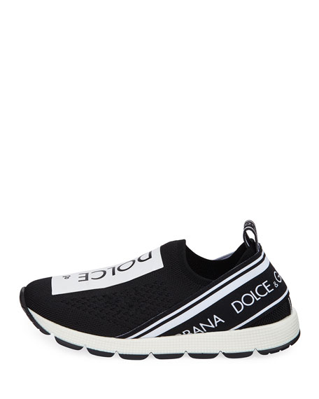 Slip-On Knit Logo Patch Sneakers, Kids