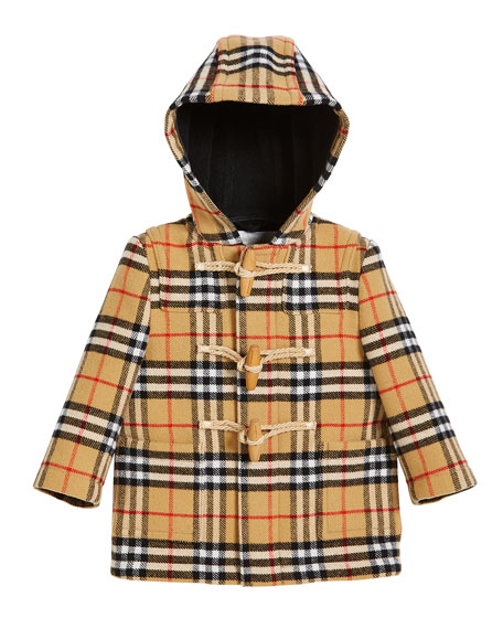 Burberry Brogan Check Hooded Virgin Wool Coat, Size