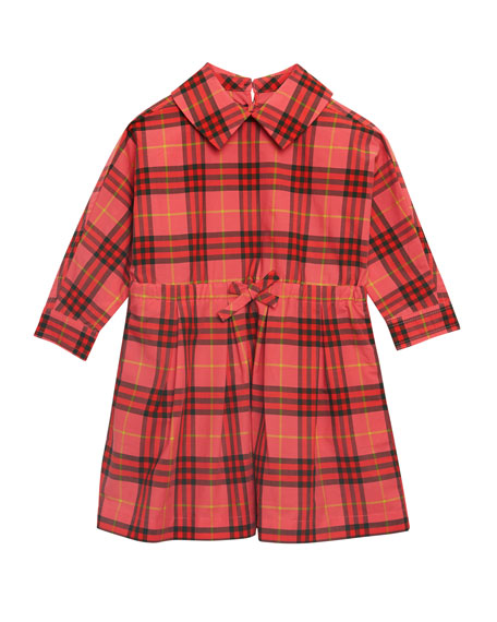 Burberry Crissida Long-Sleeve Plaid Dress, Size 6 Months-3