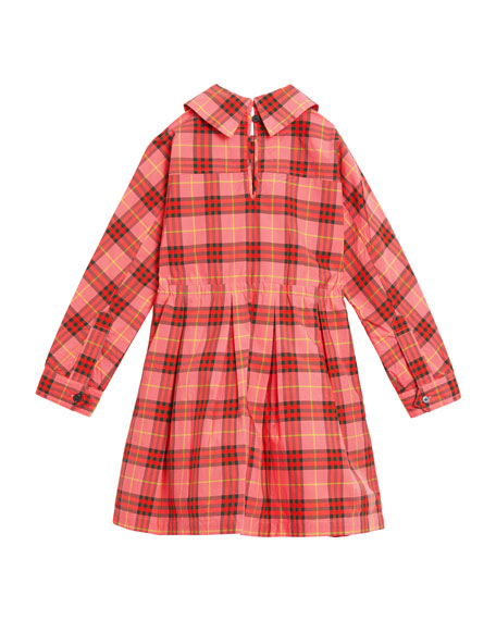 Crissida Long-Sleeve Plaid Dress, Size 4-14