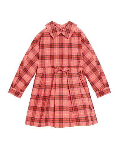 Crissida Long-Sleeve Plaid Dress, Size 4-14