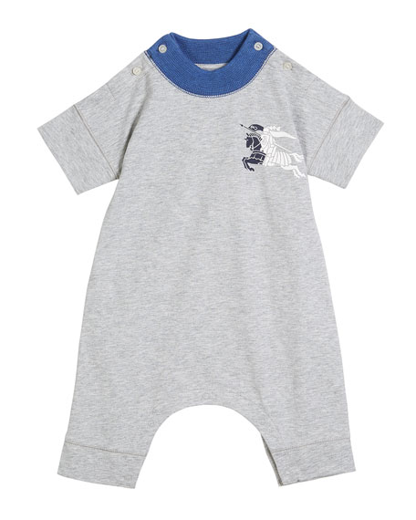Randal Two-Tone Heathered Playsuit w/ Knight Logo, Size 1-18 Months