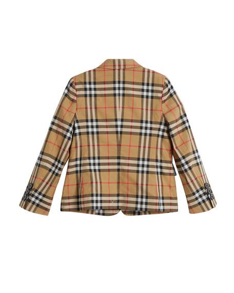 Tuxy Check Cotton Blazer, Size 4-14