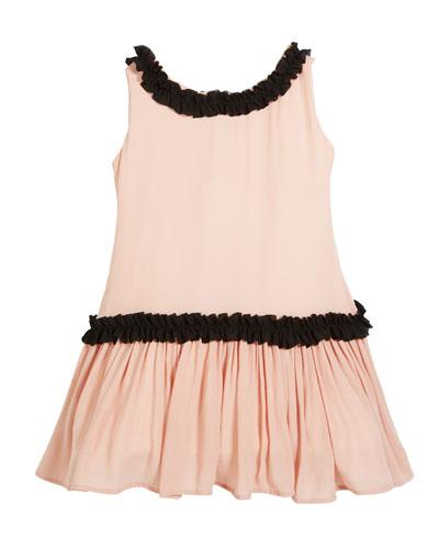 Sleeveless Georgette Ruffle Dress, Size 7-14