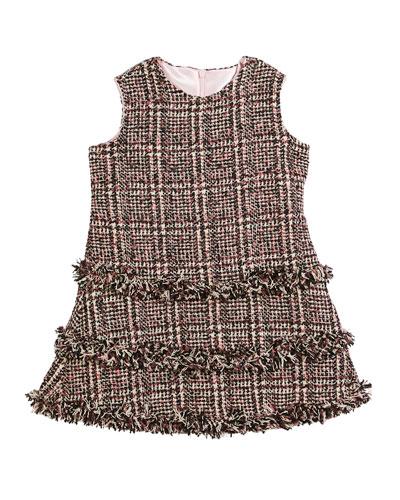 Tweed Fringe A-Line Dress, Size 7-14