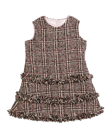 Tweed Fringe A-Line Dress, Size 7-14