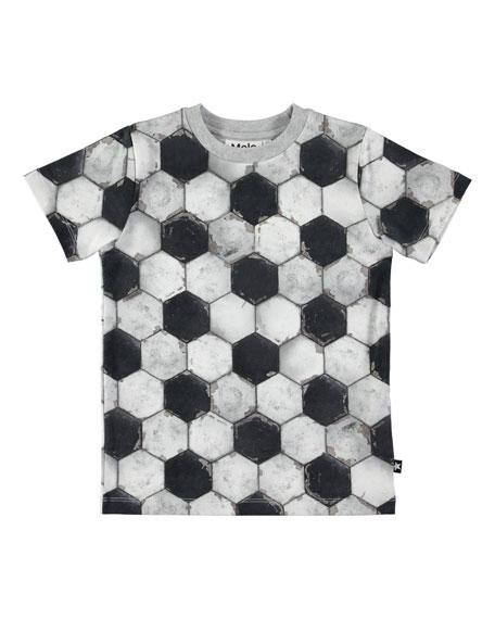 Ralphie Short-Sleeve Soccer Ball-Print Tee, Size 4-12