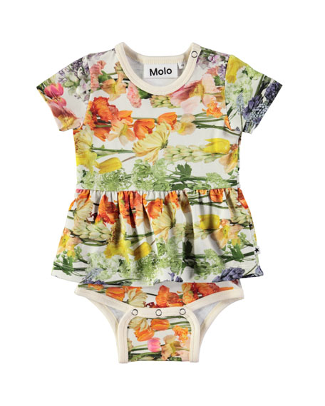 Frannie Floral-Print Skirted Bodysuit, Size 3-12 Months