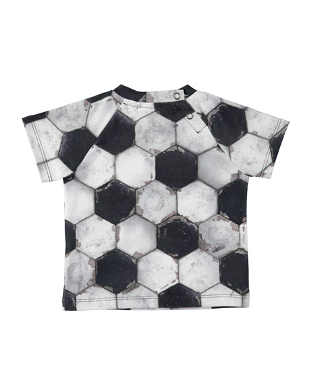 Emmett Short-Sleeve Soccer Ball-Print T-Shirt, Size 6-24 Months