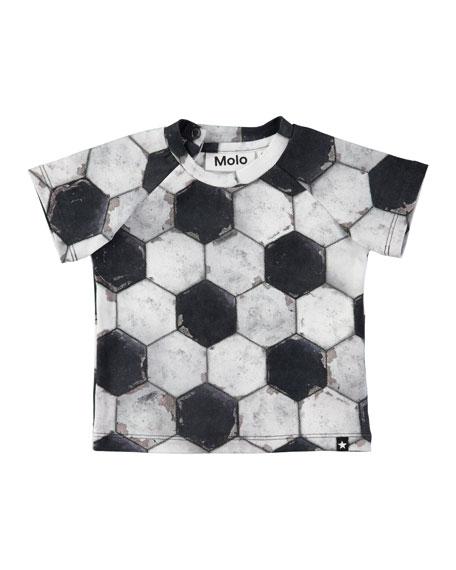 Molo Emmett Short-Sleeve Soccer Ball-Print T-Shirt, Size 6-24