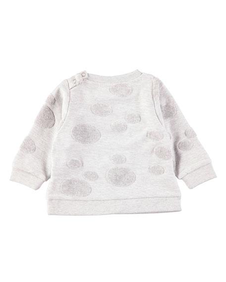 Dena Shirred-Neck Sweatshirt w/ Dot Detail
