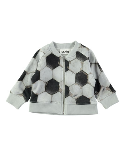 Sear Zip-Up Soccer Ball-Print Jacket