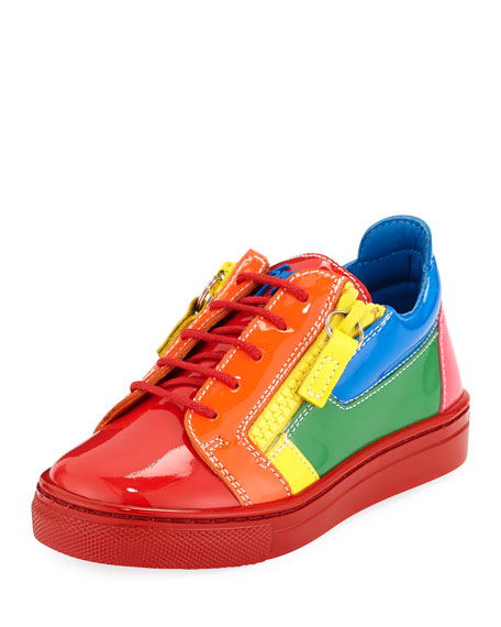 Giuseppe Zanotti Rainbow Patent Leather Low-Top Sneakers, Toddler