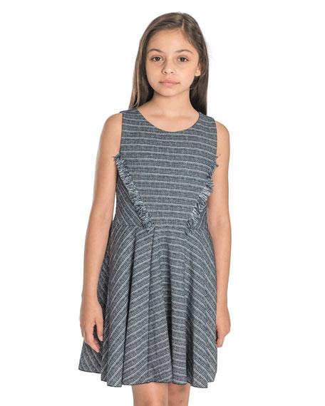 Mara Metallic Striped Fringe-Trim Swing Dress, Size 4-6X