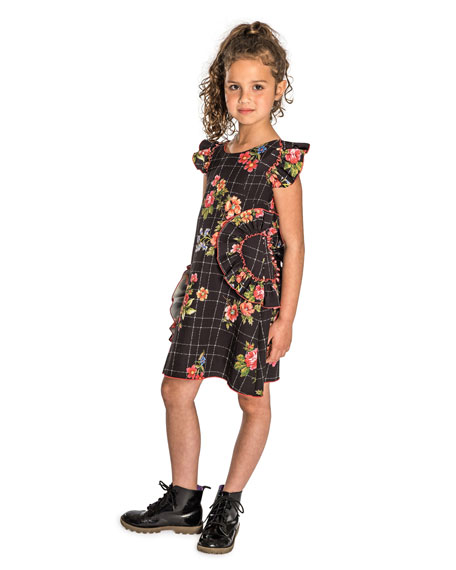Blossom-Printed Ruffle-Trim Dress, Size 7-16