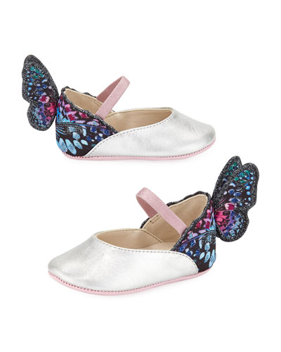 Chiara Leather-Trim Butterfly Mary Jane Flats, Baby
