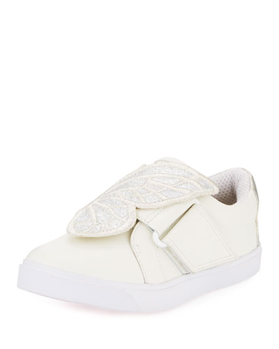 Bibi Embroidered-Butterfly Leather Low-Top Sneakers, Toddler/Kid