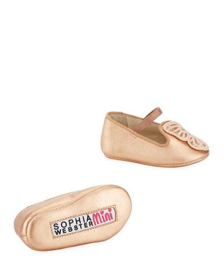 Bibi Butterfly Metallic Leather Flats, Baby