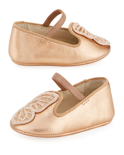 Bibi Butterfly Metallic Leather Flats, Baby