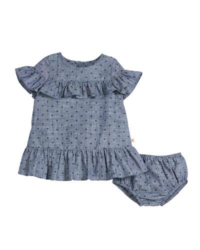 chambray polka-dot ruffle-trim dress w/ bloomers, size 12-24 months
