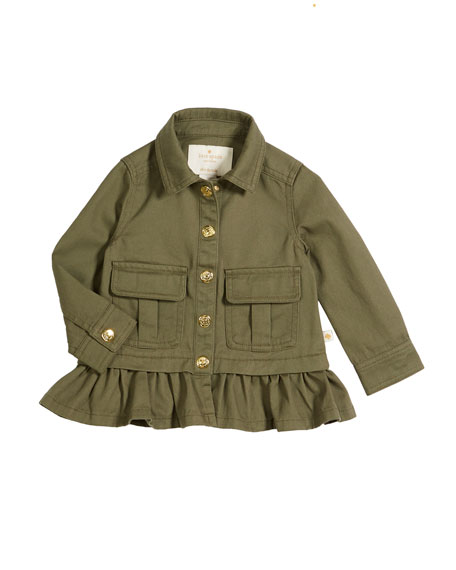 kate spade new york ruffle-hem twill field jacket,