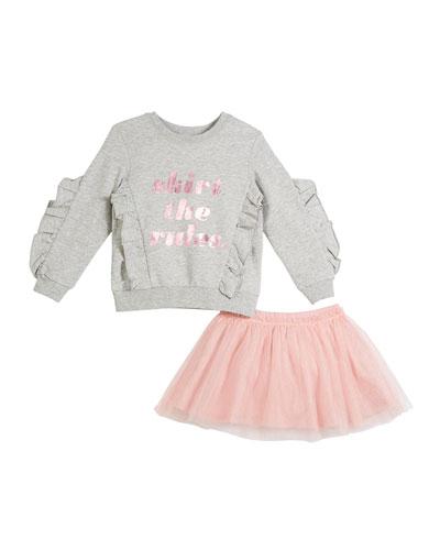 skirt the rules sweatshirt w/ tulle skirt, size 2-6x