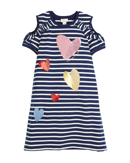 kate spade new york tossed hearts striped cold-shoulder