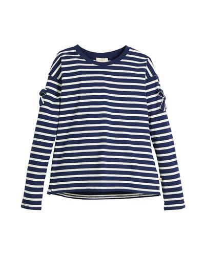 striped long-sleeve tee w/ bow trim, size 7-14