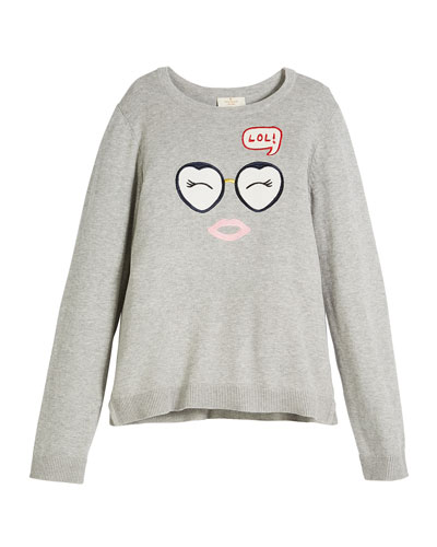 lol embroidered long-sleeve sweater, size 7-14