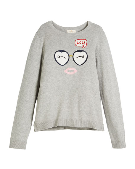 kate spade new york lol embroidered long-sleeve sweater,