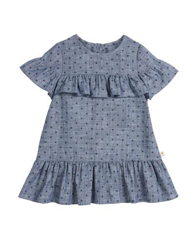 chambray polka-dot ruffle-trim dress, size 2-6x