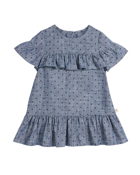 kate spade new york chambray polka-dot ruffle-trim dress,