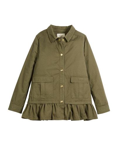 ruffle-hem twill field jacket, size 2-6x