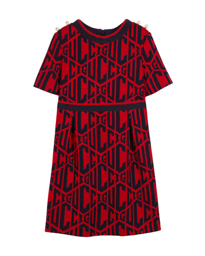 Short-Sleeve Gucci Rhombus-Print Dress, Size 4-12