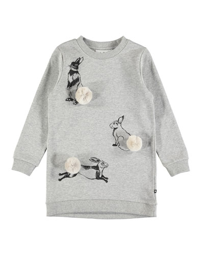 Cassia Rabbit Sweatshirt Dress, Size 2T-12