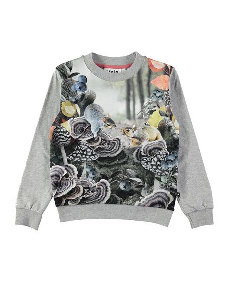Molo Regine Long-Sleeve Squirrel-Print Sweatshirt Tee, Size 2-10