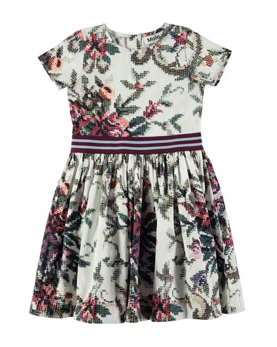 Candy Short-Sleeve Cross-Stitch Floral Dress, Size 2T-12