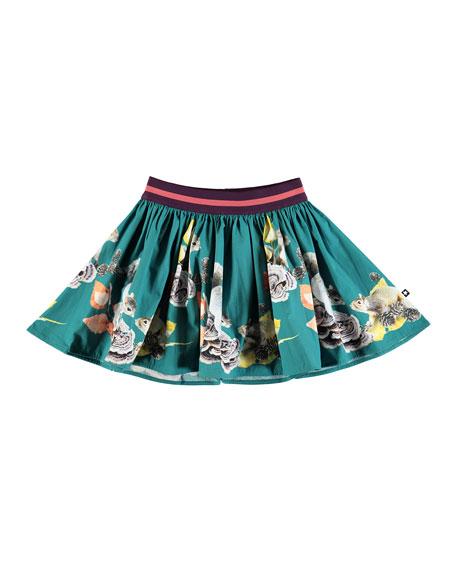 Brenda Woven Squirrel-Print Skirt, Size 2T-12