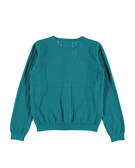Georgina Open-Knit Long-Sleeve Cardigan, Size 2T-12