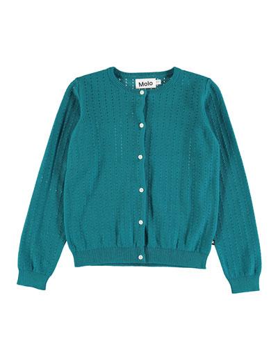 Georgina Open-Knit Long-Sleeve Cardigan, Size 2T-12