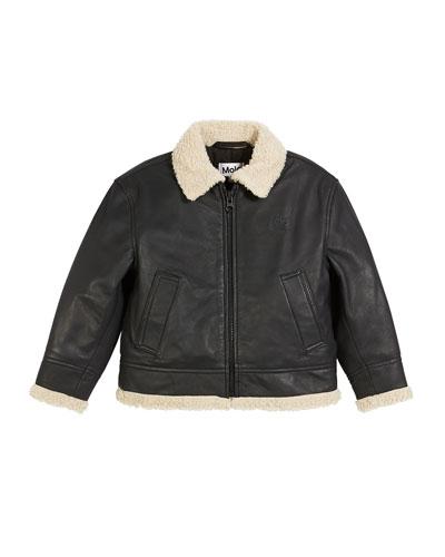 Huugo Leather Jacket w/ Sherpa Trim, Size 4-12