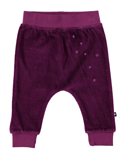 Susse Velour Star-Embroidered Pants, Size 6-24 Months