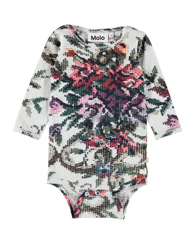 Fair Long-Sleeve Cross-Stitch Floral Bodysuit, Size 6-24 Months