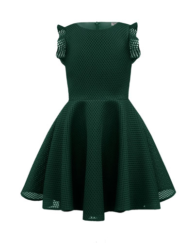 Ruffle-Trim Lattice Scuba Mesh Fit-&-Flare Dress, Size 10-16