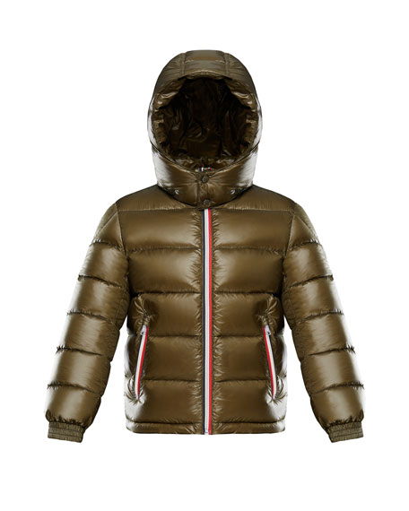 Gastonet Puffer Coat w/ Tricolor Zippers, Size 4-6